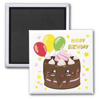 Alles Gute zum Geburtstagschokoladenkuchen, kawaii Quadratischer Magnet