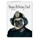 Alles- Gute zum Geburtstagvati-Feuerwehrmann-Mops- Karten
