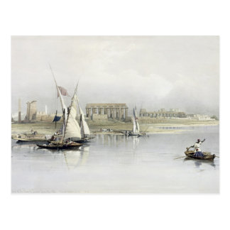 Allgemeine Ansicht der Ruinen von Luxor vom Nil, Postkarte
