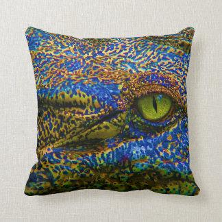 Alligatorkrokodil-buntes Auge Editable! Kissen