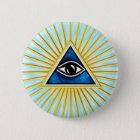 Allsehendes Auge Gottes, Pyramide, Freimaurer Runder Button 5,7 Cm
