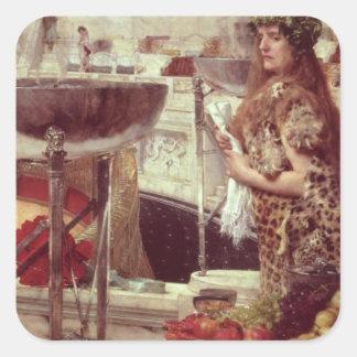 Alma-Tadema   Vorbereitungen in den Colosseum, Quadratischer Aufkleber