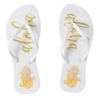 Aloha extravagante ImitatgoldGlitter-Pastellananas Flip Flops