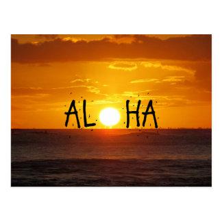 Aloha Hawaii-Sonnenuntergang-Ozean Postkarte