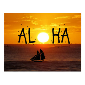 Aloha Hawaii-Sonnenuntergang-Ozean-Segelboot Postkarte