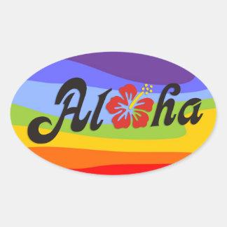 Aloha Hibiskus - flacher Hawaii-Entwurf + Ihre Ovaler Aufkleber