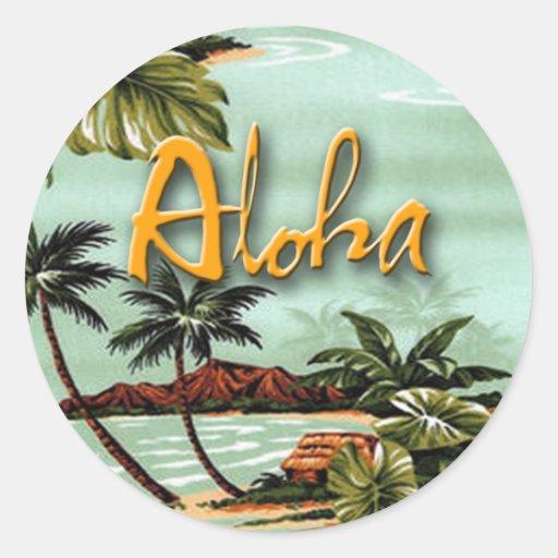 Aloha île autocollant rond