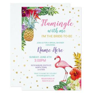 Aloha laden Brautparty-Flamingo-Gold ein Karte