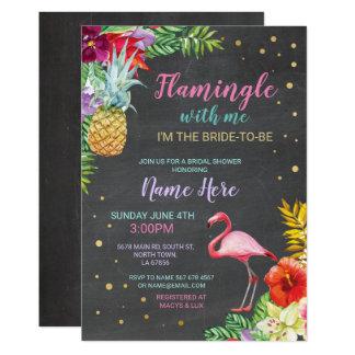 Aloha laden Brautparty-Flamingo-Kreide-Gold ein Karte