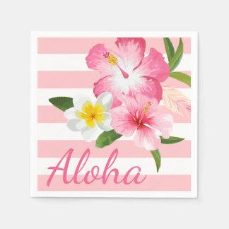 Aloha Rosa-tropische Blumen und Streifen Papierservietten