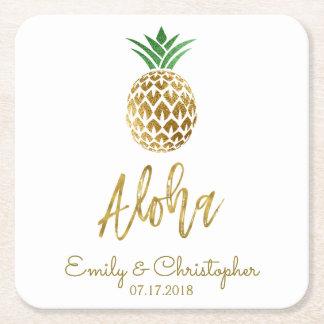 Aloha tropische hawaiische Ananas-Wedding Weiß Rechteckiger Pappuntersetzer