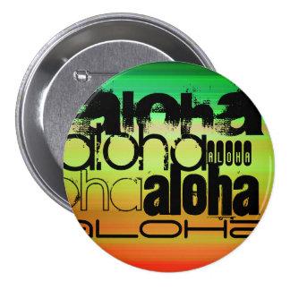 Aloha; Vibrierendes Grünes, orange u. Gelb Runder Button 7,6 Cm