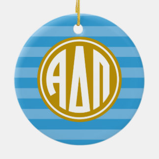 Alpha Monogramm-Streifen-Muster Deltapus | Keramik Ornament