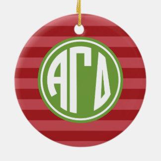 Alpha Monogramm-Streifen-Muster des Keramik Ornament