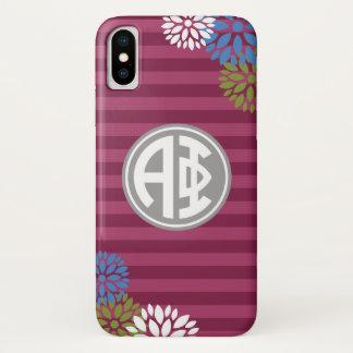 Alpha Monogramm-Streifen-Muster des Phi-  iPhone X Hülle
