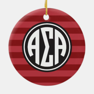 Alpha Monogramm-Streifen-Muster des Sigma-Alpha-| Keramik Ornament