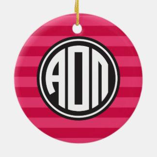 Alpha Monogramm-Streifen-Muster Omicron PUs | Keramik Ornament
