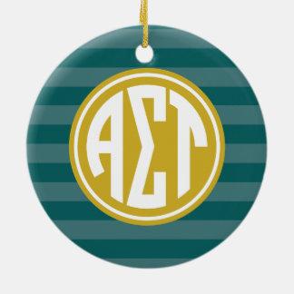 Alpha Monogramm-Streifen-Muster SigmaTau | Keramik Ornament
