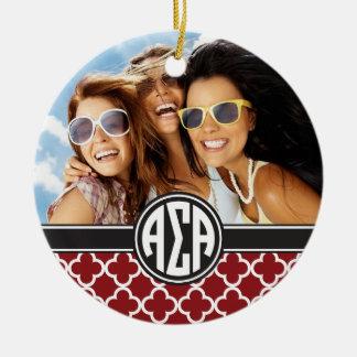 Alpha Monogramm und Foto des Sigma-Alpha-| Keramik Ornament