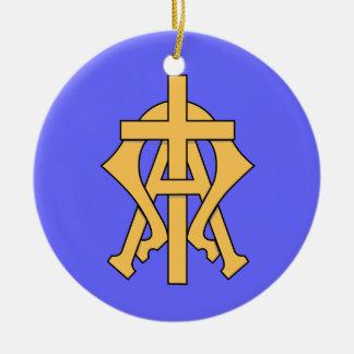 Alpha u. Omega-Weihnachtsverzierung Keramik Ornament