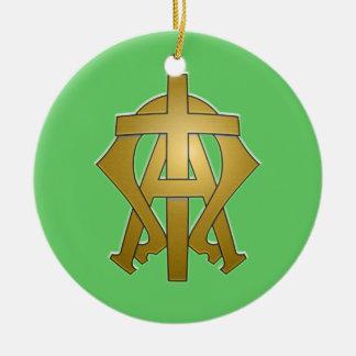 Alpha und Omega Keramik Ornament