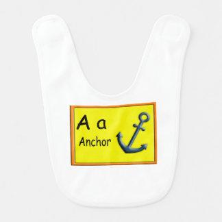 Alphabet-Buchstabe ein Phonik-Schellfisch Lätzchen