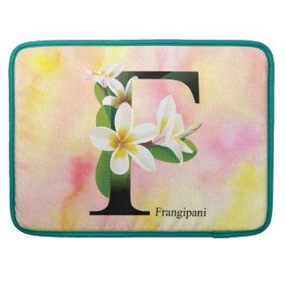 Alphabet de fleurs avec l'arrière - plan poches pour macbook