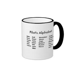 Alphabet, l'alphabet du pilote tasse à café