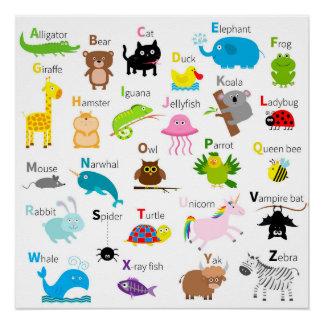 Alphabet mit Tierbildern und Buchstaben Poster