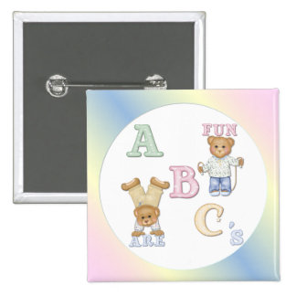 Alphabet-Spaß-Teddybären Quadratischer Button 5,1 Cm
