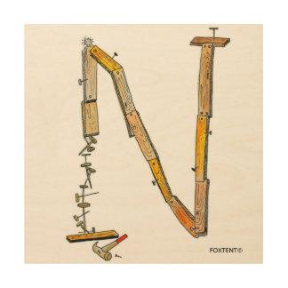 Alphabet-Stapel-Buchstabe N Holzleinwand