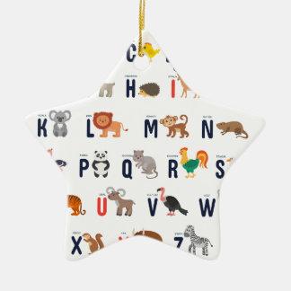 Alphabet-Tiere - superniedliches! Keramik Stern-Ornament