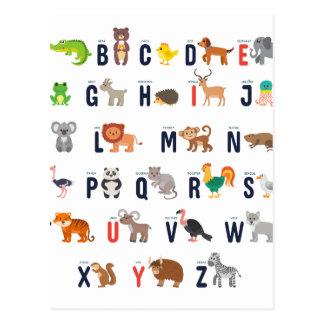 Alphabet-Tiere - superniedliches! Postkarte