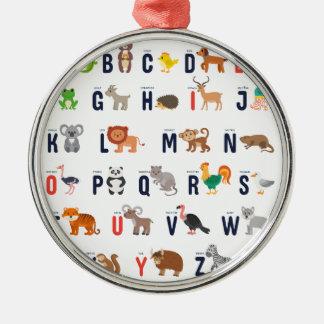 Alphabet-Tiere - superniedliches! Rundes Silberfarbenes Ornament