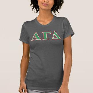 Alphagamma-Deltagrüne und rote Buchstaben T-Shirt