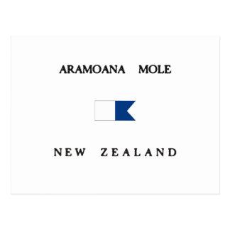 Alphatauchen-Flagge Aramoana Mole-Neuseelands Postkarte