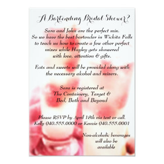 Als Barmixer arbeitende Brautparty-Einladung 12,7 X 17,8 Cm Einladungskarte