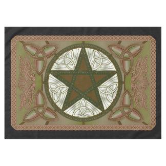 Altar-Stoff mit grünem Pentagram u. Triquatras Tischdecke