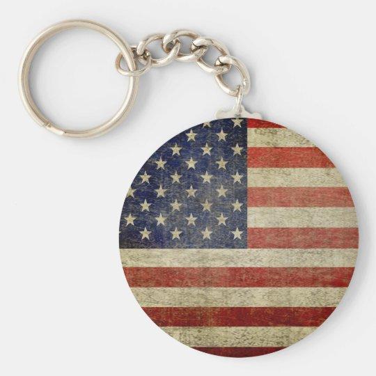 Alte amerikanische Flagge Standard Runder Schlüsselanhänger