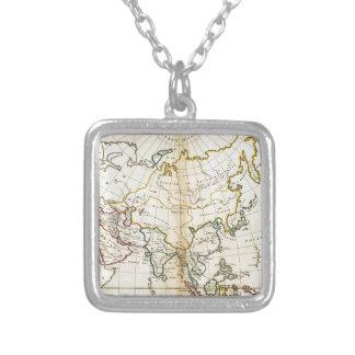 Alte Asien-Karte 1799 Halskette Mit Quadratischem Anhänger