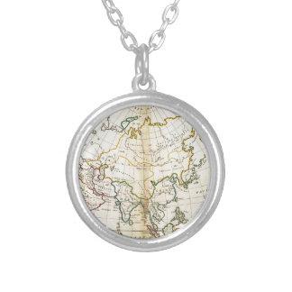 Alte Asien-Karte 1799 Halskette Mit Rundem Anhänger