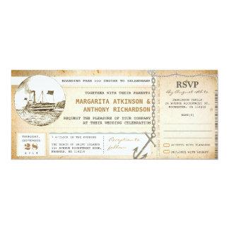 alte Boardingdurchlauf-Kreuzfahrthochzeit lädt mit 10,2 X 23,5 Cm Einladungskarte