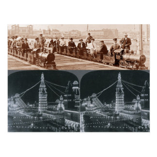 Alte Coney Island-Züge, Luna Park Bild-Postkarte Postkarte