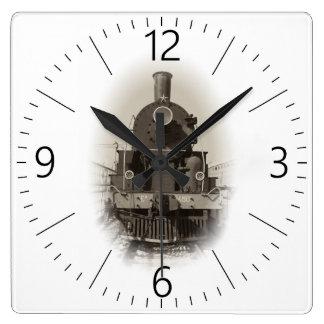 Alte Dampflokomotive Quadratische Wanduhr