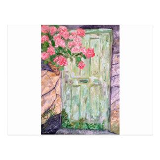 Alte grüne Tür Postkarte