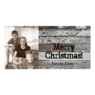 Alte hölzerne Foto-Weihnachtskarte Photokartenvorlagen