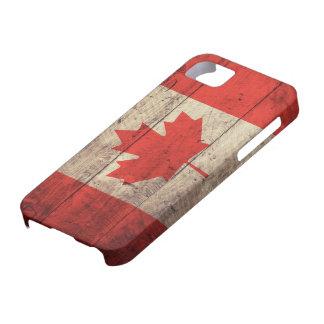 Alte hölzerne kanadische Flagge iPhone 5 Hüllen