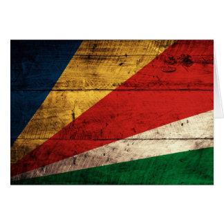 Alte hölzerne Seychellen-Flagge Karte