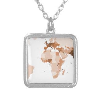 Alte Karte der Welt Halskette Mit Quadratischem Anhänger