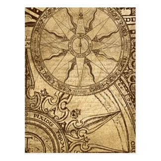 Alte Kompass-Rose Postkarte